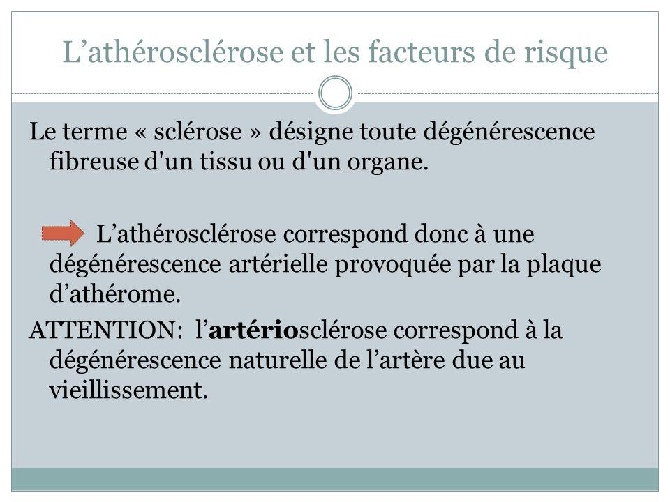 Lathérosclérose et les facteurs de risque Le terme « sclérose » désigne toute dégénérescence fibreuse d un tissu ou d un organe.