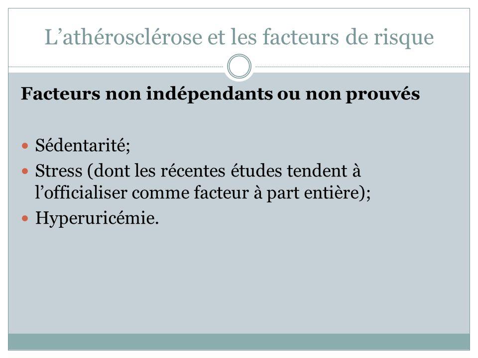 Lathérosclérose et les facteurs de risque Facteurs non indépendants ou non prouvés Sédentarité; Stress (dont les récentes études tendent à lofficialiser comme facteur à part entière); Hyperuricémie.