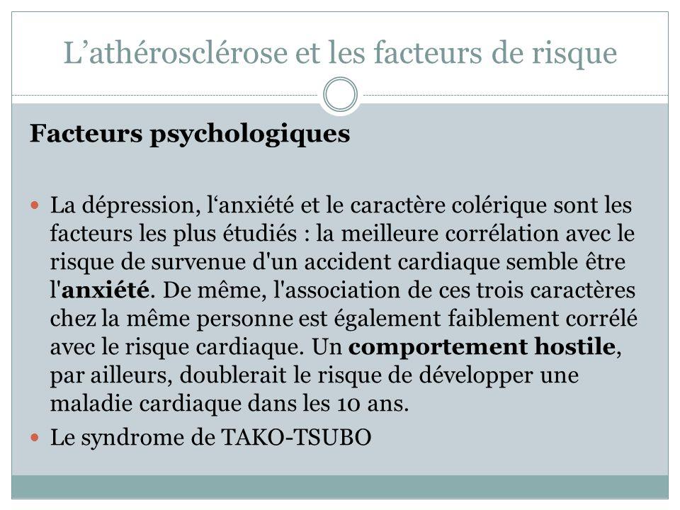Lathérosclérose et les facteurs de risque Facteurs psychologiques La dépression, lanxiété et le caractère colérique sont les facteurs les plus étudiés : la meilleure corrélation avec le risque de survenue d un accident cardiaque semble être l anxiété.