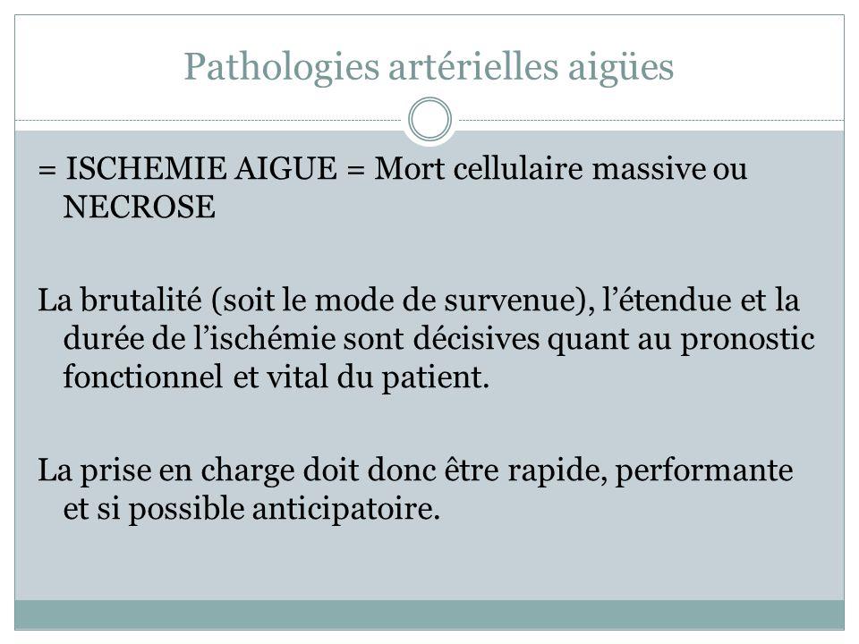 Pathologies artérielles aigües = ISCHEMIE AIGUE = Mort cellulaire massive ou NECROSE La brutalité (soit le mode de survenue), létendue et la durée de