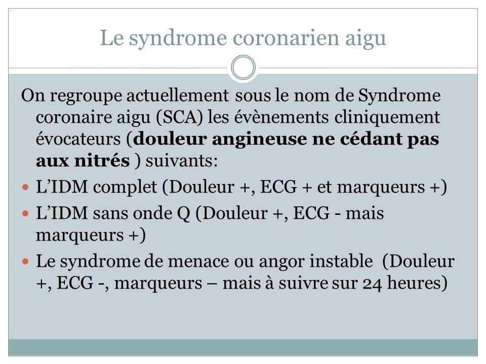 Le syndrome coronarien aigu On regroupe actuellement sous le nom de Syndrome coronaire aigu (SCA) les évènements cliniquement évocateurs (douleur angineuse ne cédant pas aux nitrés ) suivants: LIDM complet (Douleur +, ECG + et marqueurs +) LIDM sans onde Q (Douleur +, ECG - mais marqueurs +) Le syndrome de menace ou angor instable (Douleur +, ECG -, marqueurs – mais à suivre sur 24 heures)