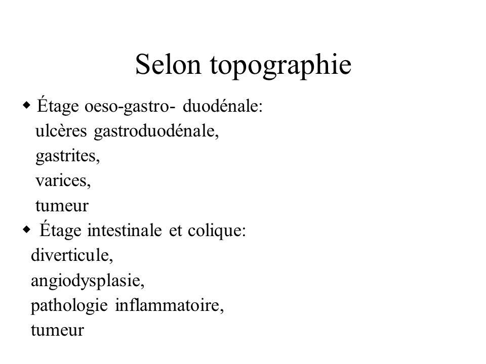 Selon topographie Étage oeso-gastro- duodénale: ulcères gastroduodénale, gastrites, varices, tumeur Étage intestinale et colique: diverticule, angiodysplasie, pathologie inflammatoire, tumeur