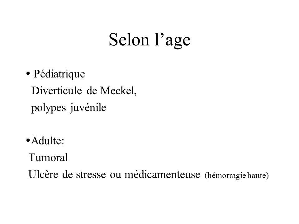 Selon lage Pédiatrique Diverticule de Meckel, polypes juvénile Adulte: Tumoral Ulcère de stresse ou médicamenteuse (hémorragie haute)