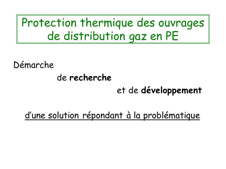 Protection thermique des ouvrages de distribution gaz en PE Démarche de recherche et de développement dune solution répondant à la problématique