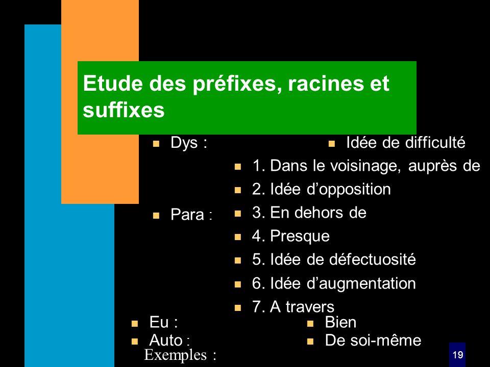 19 Etude des préfixes, racines et suffixes n Dys : n Idée de difficulté n Para : n 1.