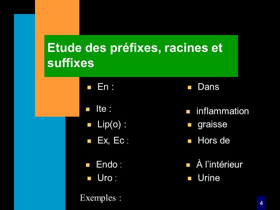 4 Etude des préfixes, racines et suffixes n En : n Dans n Ex, Ec : n Hors de Exemples : n Ite : n inflammation n Endo : n À lintérieur n Lip(o) : n graisse n Uro : n Urine