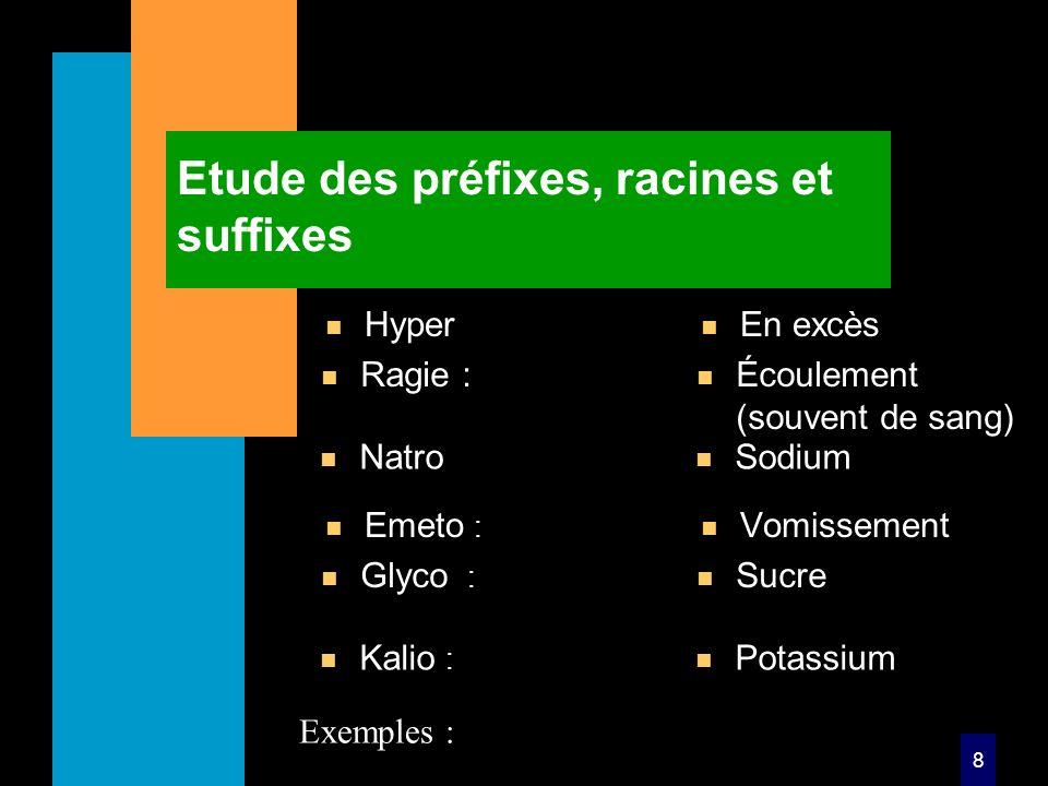 8 Etude des préfixes, racines et suffixes n Hyper n En excès n Emeto : n Vomissement Exemples : n Ragie : n Écoulement (souvent de sang) n Glyco : n Sucre n Natro n Sodium n Kalio : n Potassium
