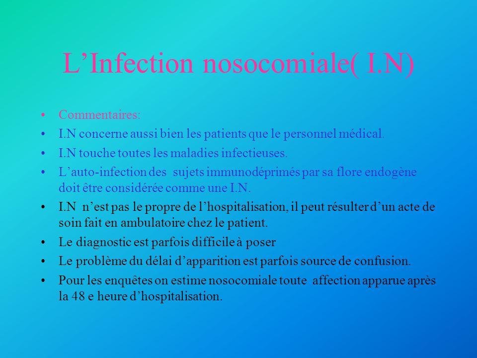 LInfection nosocomiale( I.N) Commentaires: I.N concerne aussi bien les patients que le personnel médical. I.N touche toutes les maladies infectieuses.