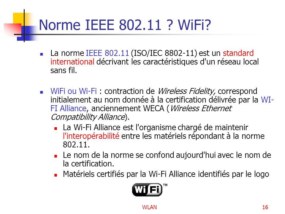 WLAN16 Norme IEEE 802.11 ? WiFi? La norme IEEE 802.11 (ISO/IEC 8802-11) est un standard international décrivant les caractéristiques d'un réseau local