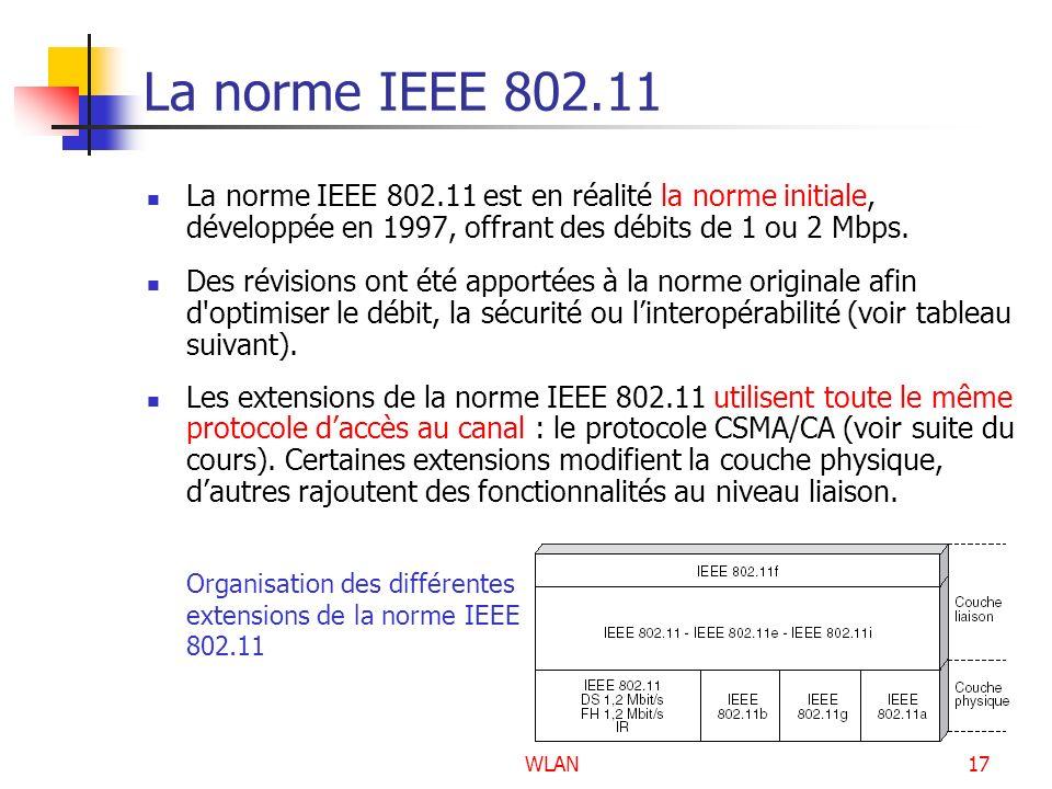 WLAN17 La norme IEEE 802.11 La norme IEEE 802.11 est en réalité la norme initiale, développée en 1997, offrant des débits de 1 ou 2 Mbps. Des révision