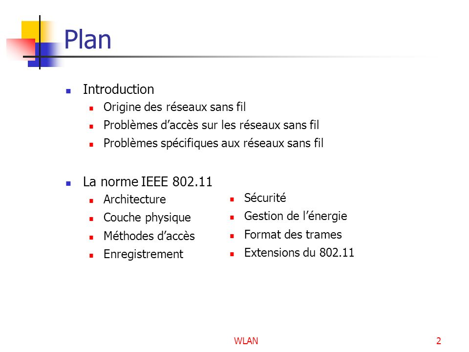 WLAN83 Les extensions de la norme IEEE 802.11 La norme IEEE 802.11b La norme IEEE 802.11a La norme IEEE 802.11g La norme IEEE 802.11i La norme IEEE 802.11n