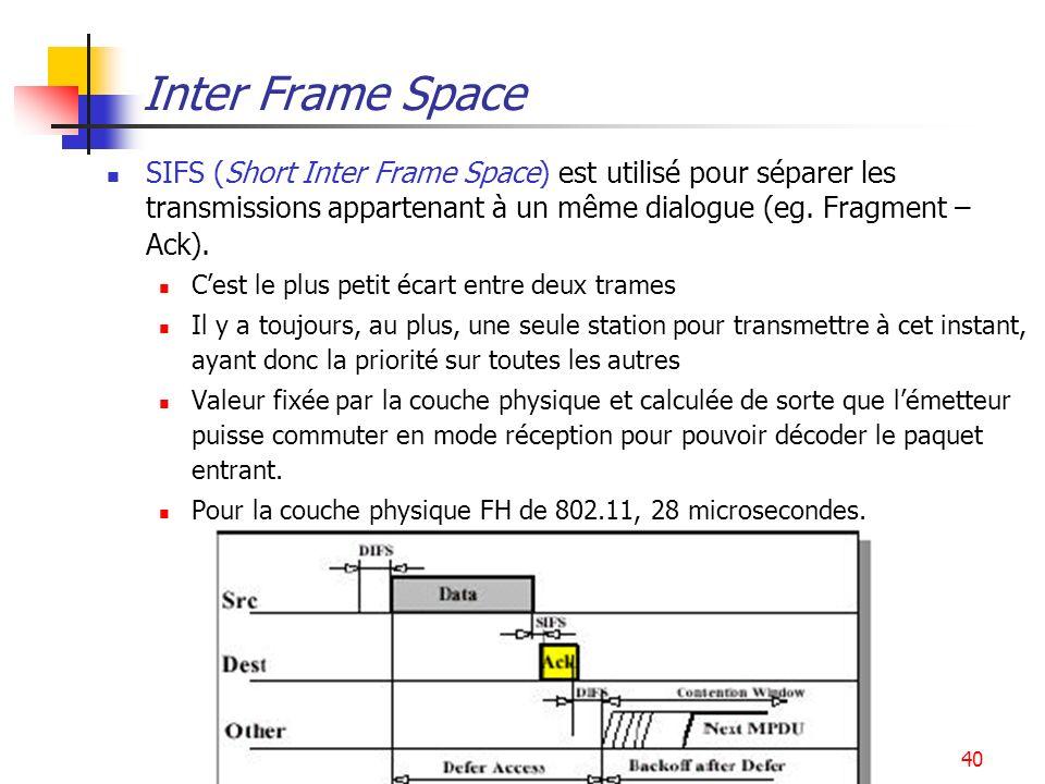 WLAN40 Inter Frame Space SIFS (Short Inter Frame Space) est utilisé pour séparer les transmissions appartenant à un même dialogue (eg. Fragment – Ack)