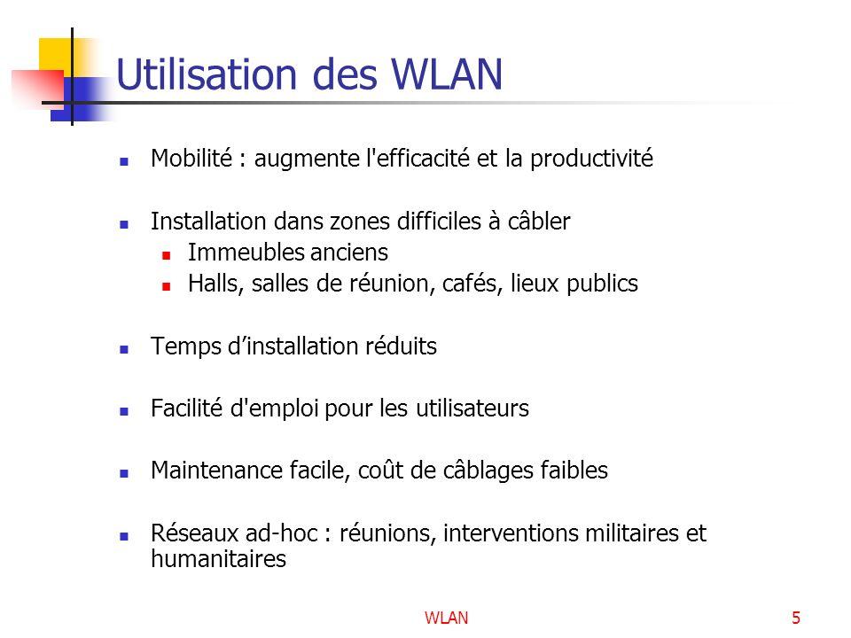 WLAN56 Failles du protocole WEP Possibilité de déchiffrer la clé dès que lon connaît un couple « texte en clair, texte chiffré » de même IV Possibilité de trouver la clé WEP par une formule mathématique basée sur des IV « faibles » Lextensions IEEE 802.11i apporte des solutions à ces failles de sécurité.