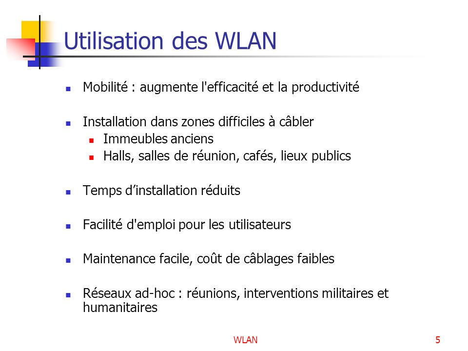 WLAN76 Les extensions de la norme IEEE 802.11 La norme IEEE 802.11b La norme IEEE 802.11a La norme IEEE 802.11g La norme IEEE 802.11i La norme IEEE 802.11n