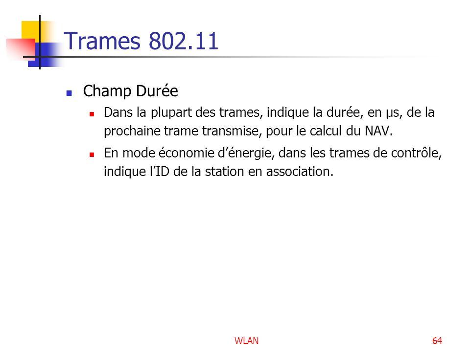 WLAN64 Trames 802.11 Champ Durée Dans la plupart des trames, indique la durée, en µs, de la prochaine trame transmise, pour le calcul du NAV. En mode