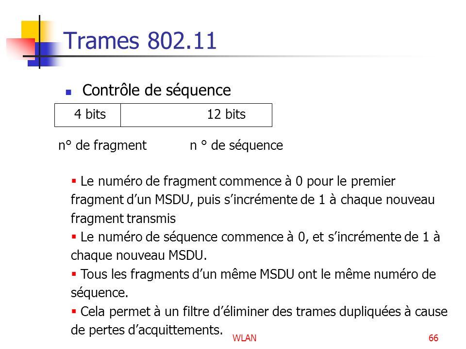 WLAN66 Trames 802.11 Contrôle de séquence 4 bits 12 bits n° de fragment n ° de séquence Le numéro de fragment commence à 0 pour le premier fragment du
