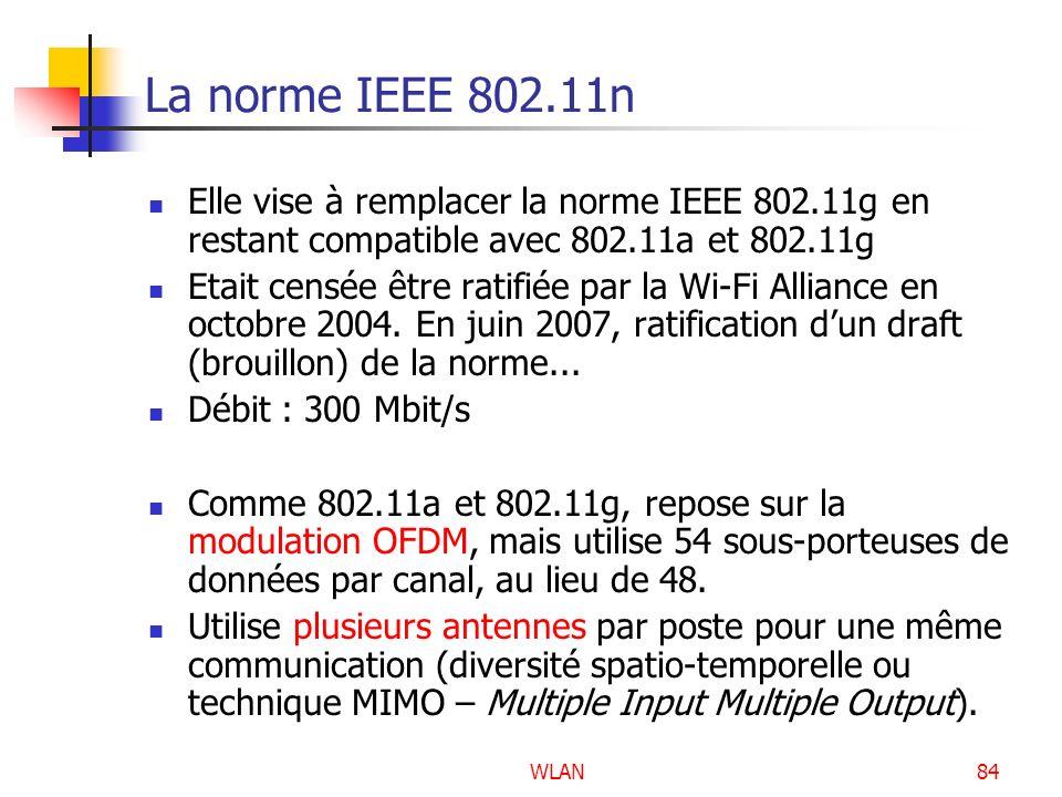 WLAN84 La norme IEEE 802.11n Elle vise à remplacer la norme IEEE 802.11g en restant compatible avec 802.11a et 802.11g Etait censée être ratifiée par