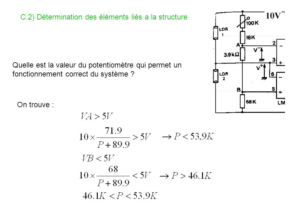 C.2) Détermination des éléments liés a la structure Quelle est la valeur du potentiomètre qui permet un fonctionnement correct du système ? On trouve