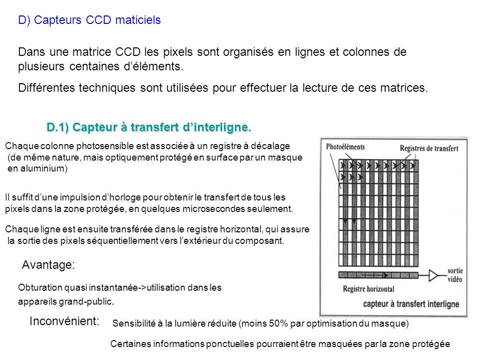 D) Capteurs CCD maticiels Dans une matrice CCD les pixels sont organisés en lignes et colonnes de plusieurs centaines déléments. Différentes technique