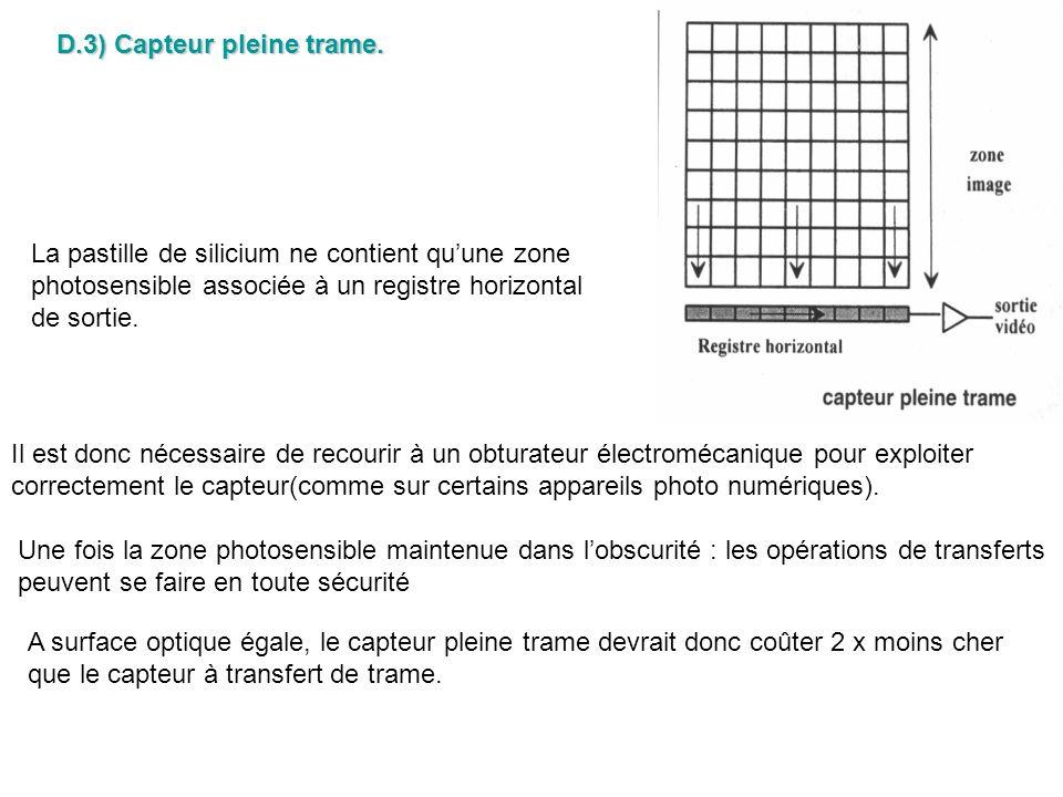 D.3) Capteur pleine trame. La pastille de silicium ne contient quune zone photosensible associée à un registre horizontal de sortie. Il est donc néces