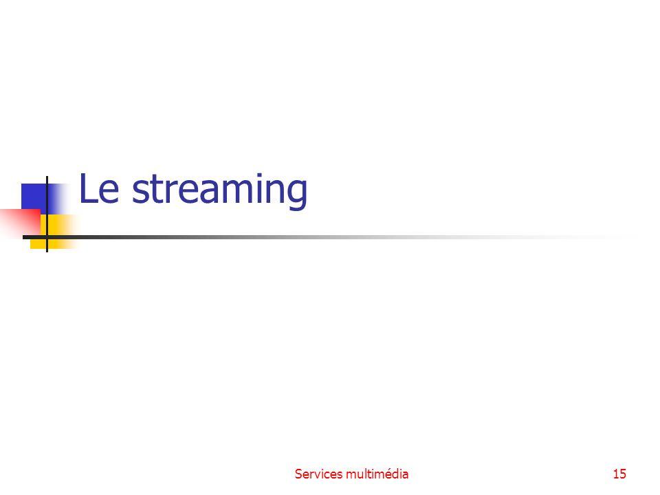 Services multimédia16 Le principe Définition : La lecture en continu (ou streaming) est un principe utilisé principalement pour l envoi de contenu en « direct » (ou en léger différé).