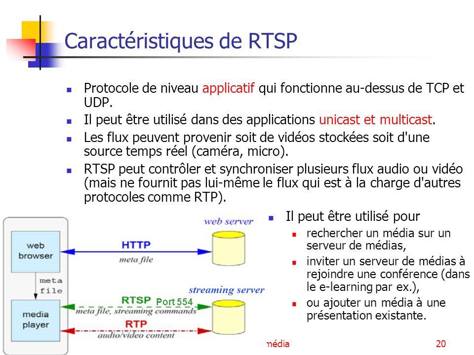 Services multimédia21 Fonctionnement de RTSP Il est similaire, au niveau de la syntaxe et des fonctionnalités, à HTTP mais RTSP est un protocole à états : nécessaire pour pouvoir corréler les demandes RTSP avec un flux Le client et le serveur peuvent exprimer des requêtes.