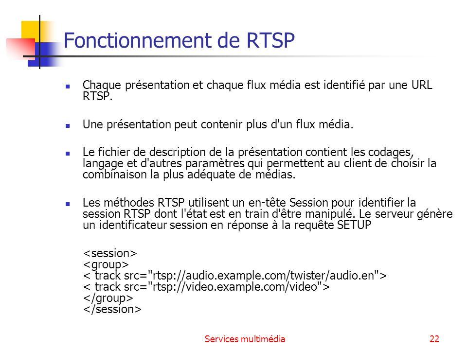 Services multimédia23 Les méthodes RTSP method direction object requirement DESCRIBE C->S P,S recommended ANNOUNCE C->S, S->C P,S optional GET_PARAMETER C->S, S->C P,S optional OPTIONS C->S, S->C P,S required (S->C: optional) PAUSE C->S P,S recommended PLAY C->S P,S required RECORD C->S P,S optional REDIRECT S->C P,S optional SETUP C->S S required SET_PARAMETER C->S, S->C P,S optional TEARDOWN C->S P,S required C->S : Client -> Server, P : presentation, S : stream