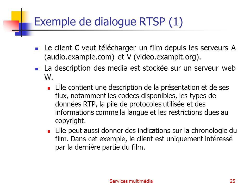Services multimédia26 Exemple de dialogue RTSP (2) RTSP Session : GET description C->W: GET /twister.sdp HTTP/1.1 Host: www.example.com Accept: application/sdp W->C: HTTP/1.0 200 OK Content-Type: application/sdp v=0 o=- 2890844526 2890842807 IN IP4 192.16.24.202 s=RTSP Session m=audio 0 RTP/AVP 0 a=control:rtsp://audio.example.com/twister/audio.en m=video 0 RTP/AVP 31 a=control:rtsp://video.example.com/twister/video Command Response Description au format SDP