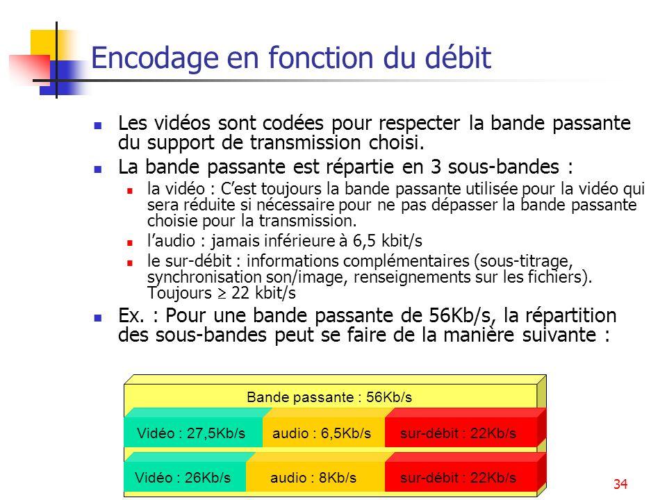 Services multimédia34 Bande passante : 56Kb/s Encodage en fonction du débit Les vidéos sont codées pour respecter la bande passante du support de tran
