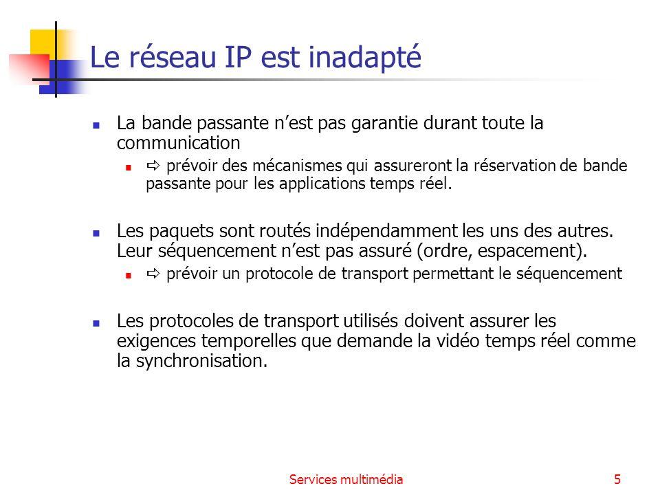 Services multimédia6 Les protocoles utilisés pour pallier les défauts de IP Le réseau IP offre un débit variable et non maîtrisé : les protocoles utilisés tentent de pallier ce défaut.