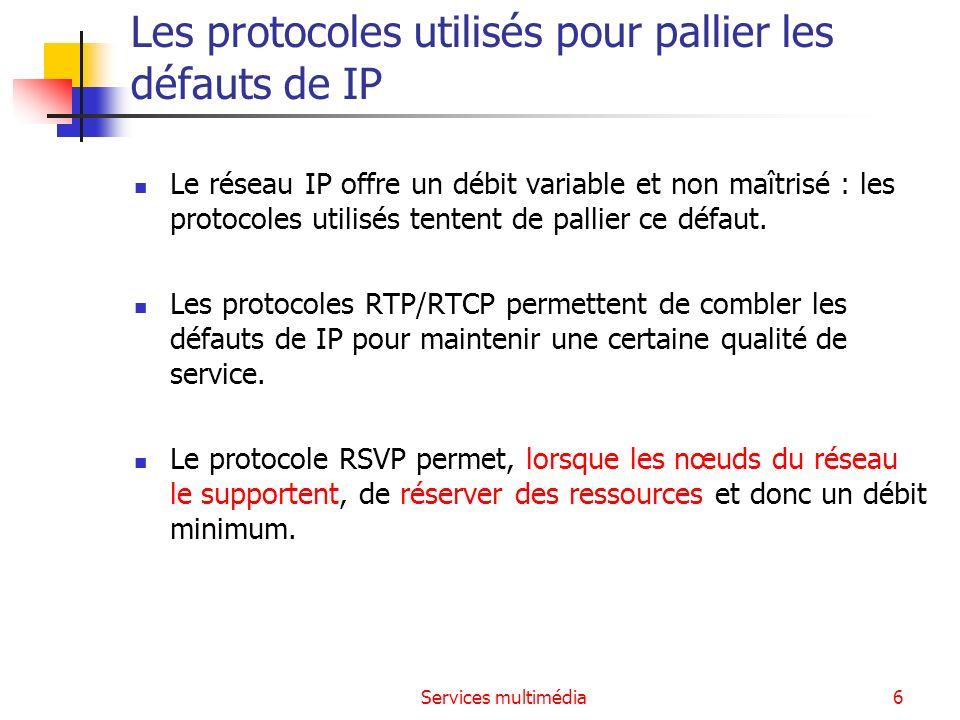 Services multimédia7 Le protocole RTP (rappel) RTP (Real-time Transport Protocol) assure la reconstruction temporelle, la détection de perte, la sécurité (Secure RTP, RFC 3711) et l identification du contenu.