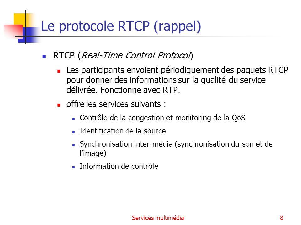 Services multimédia9 Le protocole RSVP Reservation Setup Protocol (RFC 2205 et 2209) Utilisé par les applications temps réel pour réserver les ressources nécessaires au niveau des routeurs situés le long du chemin de transmission Un contrôle de police (Policy Control) détermine si l utilisateur à la permission administrative de faire de la réservation.