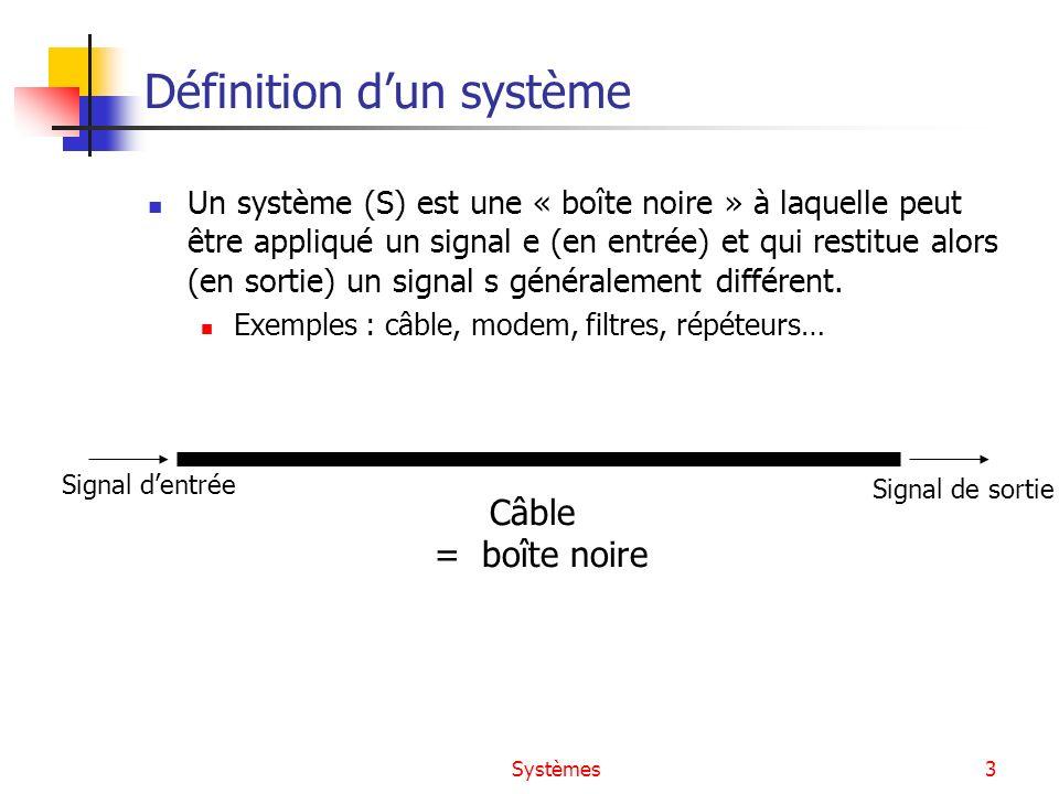 Systèmes3 Définition dun système Un système (S) est une « boîte noire » à laquelle peut être appliqué un signal e (en entrée) et qui restitue alors (e