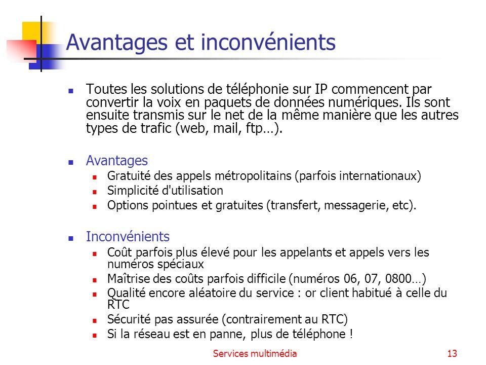 Services multimédia13 Avantages et inconvénients Toutes les solutions de téléphonie sur IP commencent par convertir la voix en paquets de données numé