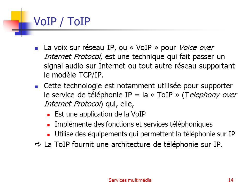 Services multimédia14 VoIP / ToIP La voix sur réseau IP, ou « VoIP » pour Voice over Internet Protocol, est une technique qui fait passer un signal au