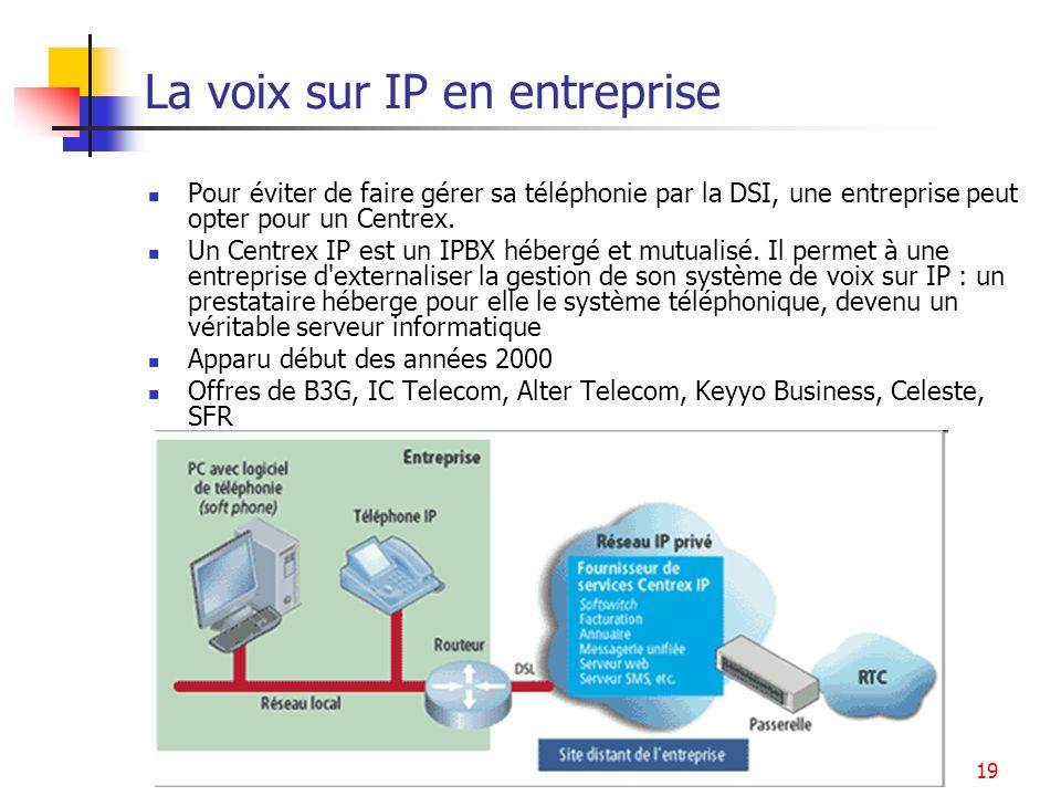 Services multimédia19 La voix sur IP en entreprise Pour éviter de faire gérer sa téléphonie par la DSI, une entreprise peut opter pour un Centrex. Un