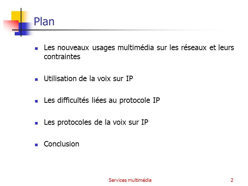 Services multimédia2 Plan Les nouveaux usages multimédia sur les réseaux et leurs contraintes Utilisation de la voix sur IP Les difficultés liées au p