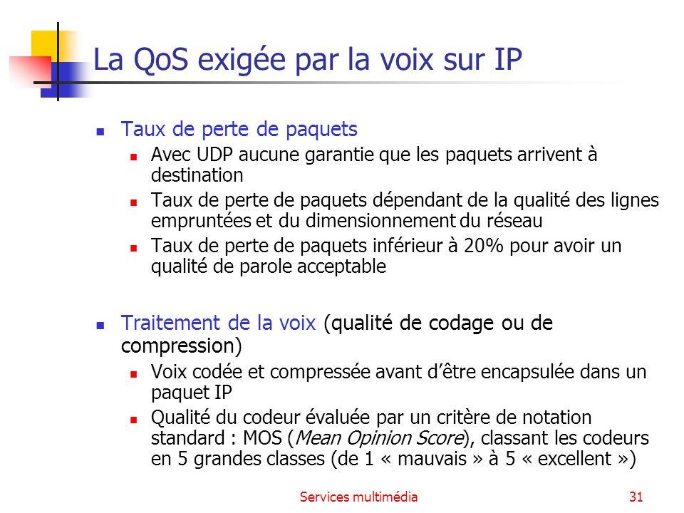 Services multimédia31 La QoS exigée par la voix sur IP Taux de perte de paquets Avec UDP aucune garantie que les paquets arrivent à destination Taux d
