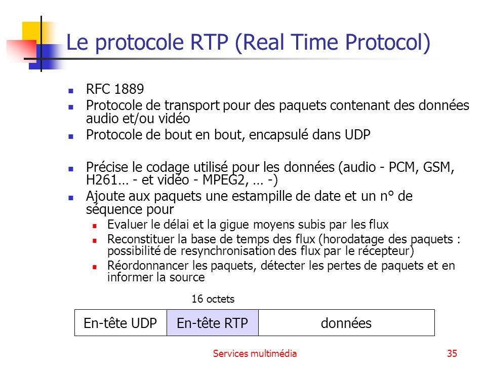 Services multimédia35 Le protocole RTP (Real Time Protocol) RFC 1889 Protocole de transport pour des paquets contenant des données audio et/ou vidéo P