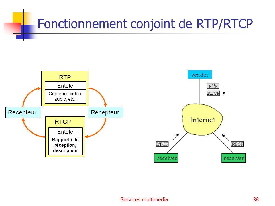 Services multimédia38 Fonctionnement conjoint de RTP/RTCP RTP Entête Contenu : vidéo, audio, etc.. RTCP Entête Rapports de réception, description Réce