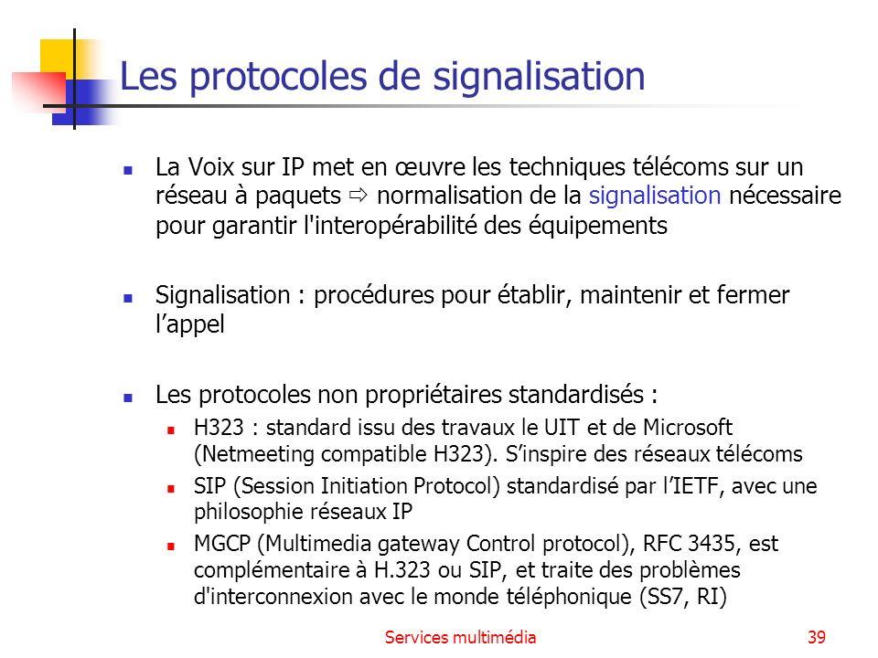 Services multimédia39 Les protocoles de signalisation La Voix sur IP met en œuvre les techniques télécoms sur un réseau à paquets normalisation de la