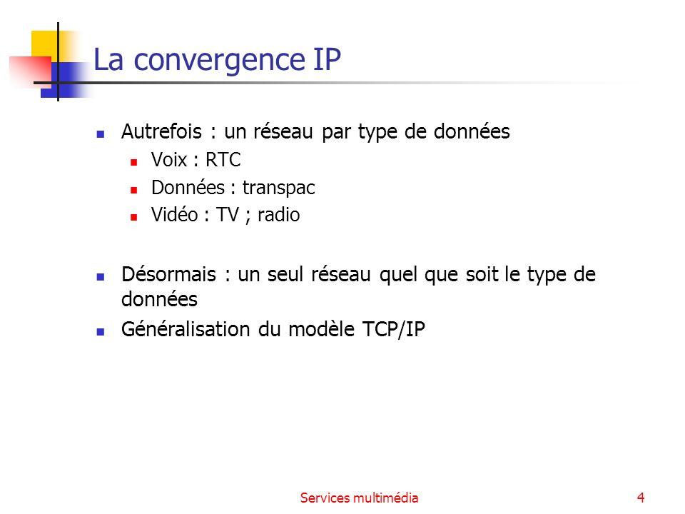 Services multimédia35 Le protocole RTP (Real Time Protocol) RFC 1889 Protocole de transport pour des paquets contenant des données audio et/ou vidéo Protocole de bout en bout, encapsulé dans UDP Précise le codage utilisé pour les données (audio - PCM, GSM, H261… - et vidéo - MPEG2, … -) Ajoute aux paquets une estampille de date et un n° de séquence pour Evaluer le délai et la gigue moyens subis par les flux Reconstituer la base de temps des flux (horodatage des paquets : possibilité de resynchronisation des flux par le récepteur) Réordonnancer les paquets, détecter les pertes de paquets et en informer la source En-tête UDPEn-tête RTPdonnées 16 octets