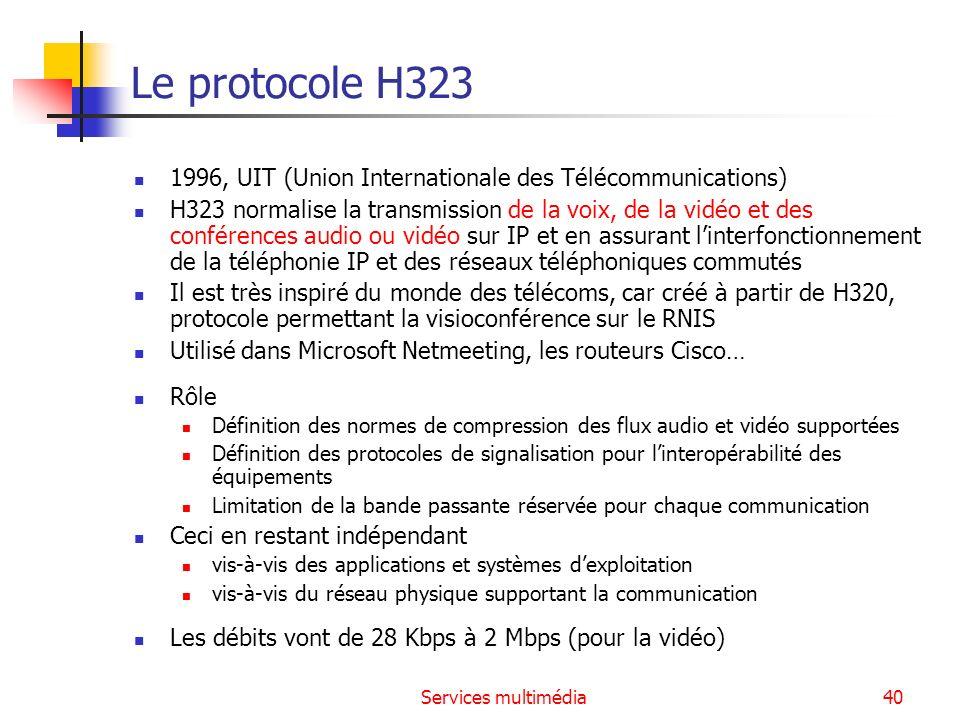 Services multimédia40 Le protocole H323 1996, UIT (Union Internationale des Télécommunications) H323 normalise la transmission de la voix, de la vidéo