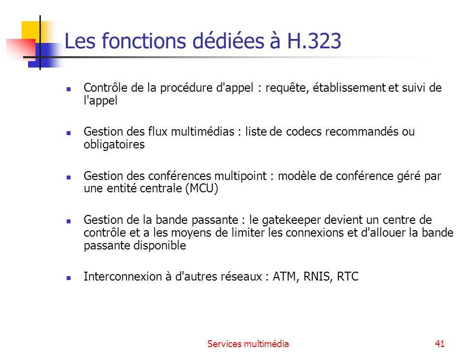 Services multimédia41 Les fonctions dédiées à H.323 Contrôle de la procédure d'appel : requête, établissement et suivi de l'appel Gestion des flux mul