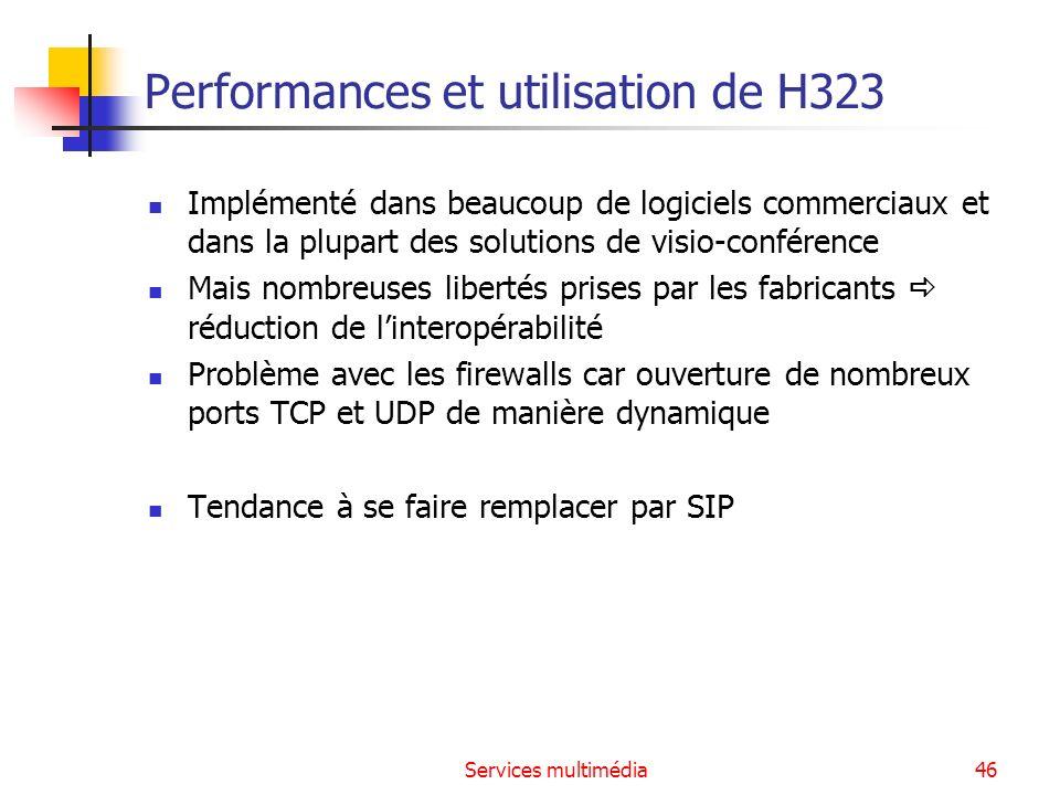 Services multimédia46 Performances et utilisation de H323 Implémenté dans beaucoup de logiciels commerciaux et dans la plupart des solutions de visio-