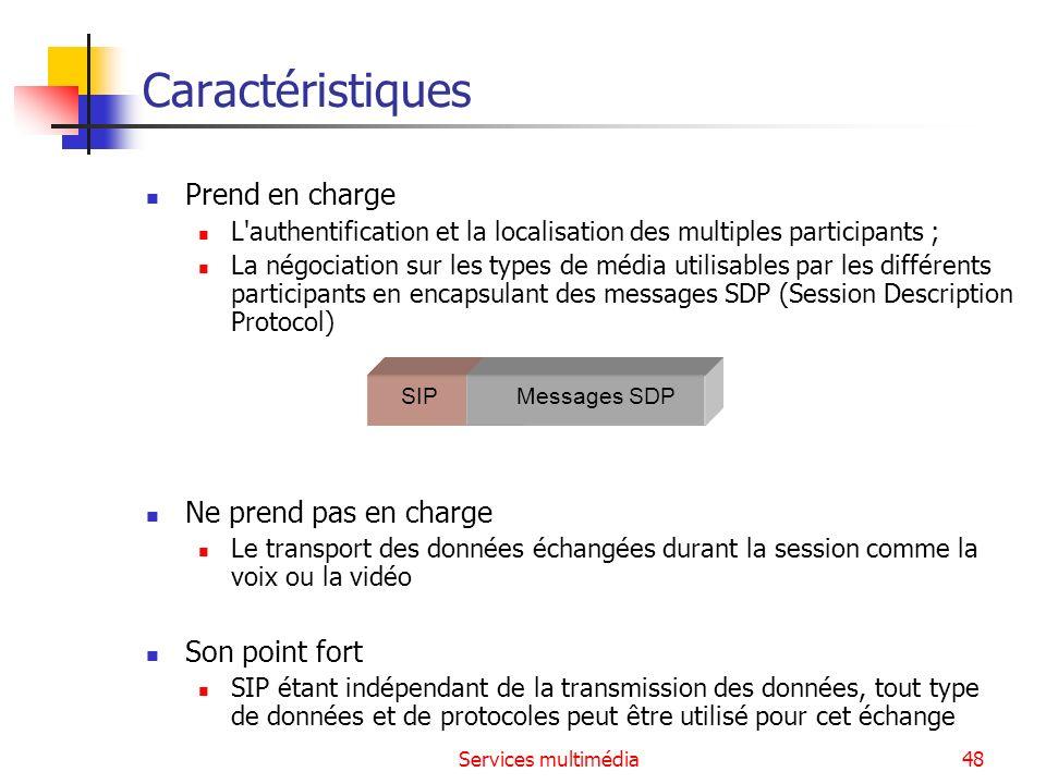 Services multimédia48 Caractéristiques Prend en charge L'authentification et la localisation des multiples participants ; La négociation sur les types