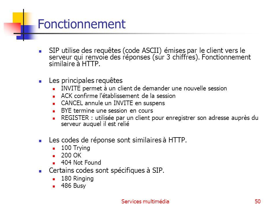 Services multimédia50 Fonctionnement SIP utilise des requêtes (code ASCII) émises par le client vers le serveur qui renvoie des réponses (sur 3 chiffr