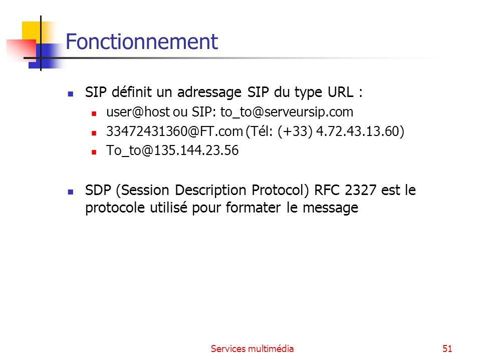 Services multimédia51 Fonctionnement SIP définit un adressage SIP du type URL : user@host ou SIP: to_to@serveursip.com 33472431360@FT.com (Tél: (+33)