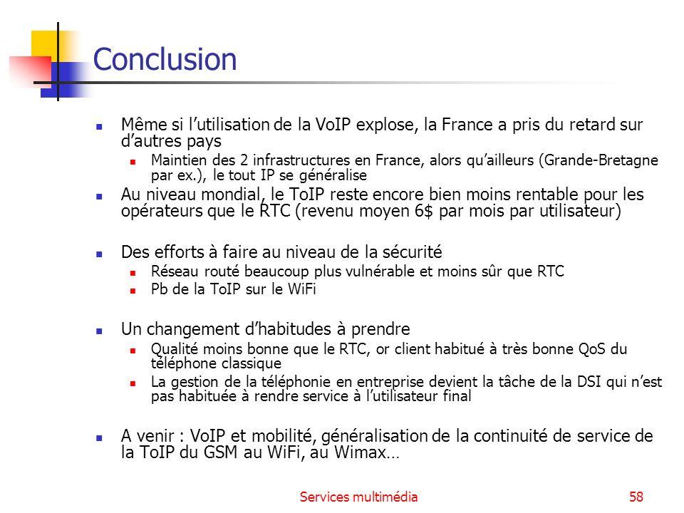 Services multimédia58 Conclusion Même si lutilisation de la VoIP explose, la France a pris du retard sur dautres pays Maintien des 2 infrastructures e