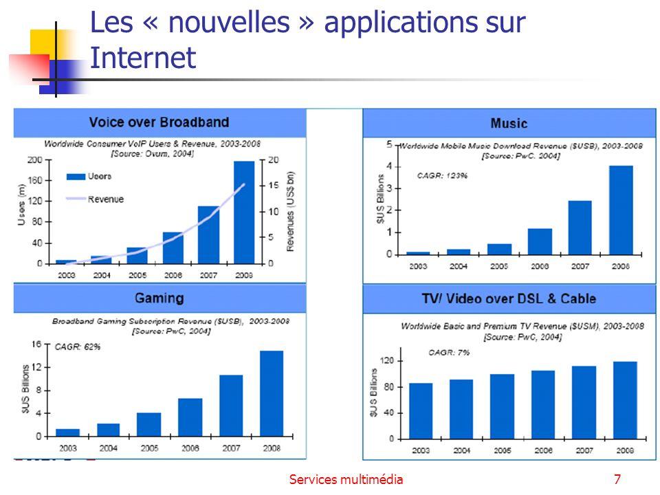 Services multimédia58 Conclusion Même si lutilisation de la VoIP explose, la France a pris du retard sur dautres pays Maintien des 2 infrastructures en France, alors quailleurs (Grande-Bretagne par ex.), le tout IP se généralise Au niveau mondial, le ToIP reste encore bien moins rentable pour les opérateurs que le RTC (revenu moyen 6$ par mois par utilisateur) Des efforts à faire au niveau de la sécurité Réseau routé beaucoup plus vulnérable et moins sûr que RTC Pb de la ToIP sur le WiFi Un changement dhabitudes à prendre Qualité moins bonne que le RTC, or client habitué à très bonne QoS du téléphone classique La gestion de la téléphonie en entreprise devient la tâche de la DSI qui nest pas habituée à rendre service à lutilisateur final A venir : VoIP et mobilité, généralisation de la continuité de service de la ToIP du GSM au WiFi, au Wimax…